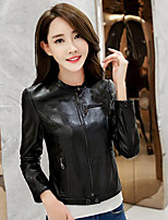 Women's Casual/Daily Simple Fall Leather Jacket,Solid Stand Long Sleeve Regular PU