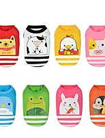 Dog Vest Dog Clothes Casual/Daily Cartoon Blushing Pink Blue Green Red Fuchsia