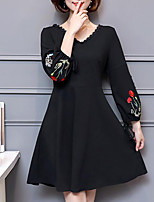 Women's Plus Size Going out Simple Sheath Dress,Embroidered V Neck Above Knee Long Sleeves Polyester Fall Mid Rise Inelastic Medium
