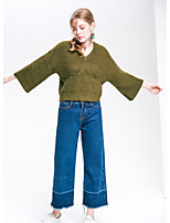 PLAYACH Women's Casual/Daily Cute Regular PulloverSolid V Neck Long Sleeves Faux Fur Fall Medium Micro-elastic