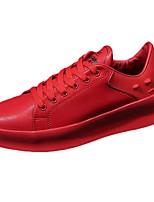 Homme Chaussures Polyuréthane Printemps Automne Semelles Légères Basket Lacet Pour Décontracté Blanc Noir Rouge