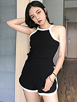 Women's Going out Simple Summer Tank Top Pant Suits,Solid Round Neck Sleeveless Micro-elastic
