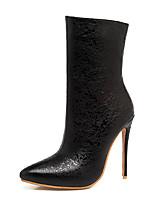 Femme Chaussures Similicuir Hiver Bottes à la Mode Bottes Talon Aiguille Bout pointu Bottes Mi-mollet Fermeture Pour Décontracté Habillé