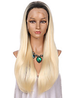 Women Synthetic Wig Lace Front Long Straight Blonde Ombre Hair Dark Roots Celebrity Wig Natural Wigs Costume Wig