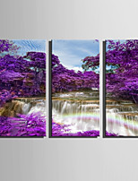 E-HOME Stretched Canvas Art Waterfalls In The Purple Woods Decoration Painting Set Of 3
