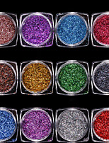 12 colourful/set Radium Fine Strip  Sequins Shiny Decoration 1g/box
