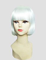Women Synthetic Wig Capless Short Straight White Bob Haircut Party Wig Celebrity Wig Halloween Wig Carnival Wig Cosplay Wig Natural Wigs