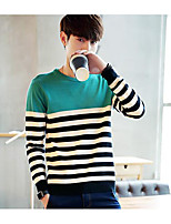 Men's Going out Regular Pullover,Striped Color Block Round Neck Long Sleeves Others Spring Winter Medium Micro-elastic