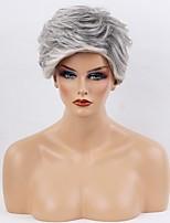 Women Human Hair Capless Wigs Black/Grey Short Curly Ombre Hair Dark Roots
