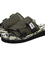 Women's Shoes Tulle Spring Fall Comfort Slippers & Flip-Flops Flat Heel Open Toe For Casual Army Green Black