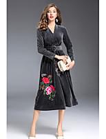 Gaine Robe Femme Sortie Mignon,Broderie Col en V Midi Manches Longues Polyester Automne Taille Normale Micro-élastique Moyen