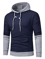 Men's Casual/Daily Simple Hoodie Color Block Patchwork Hooded Micro-elastic Cotton Acrylic Long Sleeve Fall