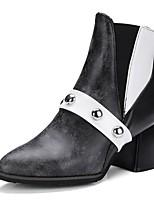 Feminino Sapatos Courino Outono Inverno Botas da Moda Coturnos Botas Dedo Apontado Botas Curtas / Ankle Para Casual Social Preto Castanho