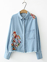Women's Going out Casual/Daily Sexy Simple Street chic Spring Fall Shirt,Solid Print Embroidery Shirt Collar Long Sleeves Cotton Others