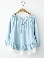 Tee-shirt Femme,Couleur Pleine Sortie Décontracté / Quotidien simple Mignon Chic de Rue Printemps Automne Manches Longues Col Arrondi