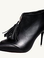 Women's Shoes PU Fall Comfort Heels Stiletto Heel Round Toe Tassel For Casual Black