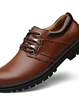 Men's Shoes Real Leather Cowhide Nappa Leather Fall Driving Shoes Formal Shoes Comfort Oxfords Lace-up For Casual Office & Career Brown