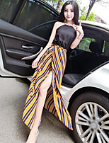 Women's Casual/Daily Simple Summer Tank Top Skirt Suits,Solid Halter Sleeveless Micro-elastic