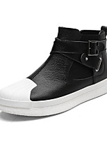 Men's Shoes Leatherette Spring Fall Fashion Boots Boots Mid-Calf Boots Split Joint For Casual Party & Evening Black/White Black