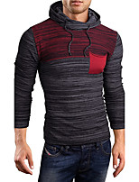 Men's Casual/Daily Simple Regular Pullover,Color Block Hooded Long Sleeves Cotton Winter Thick Stretchy