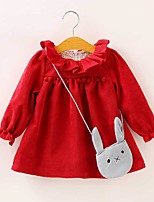Girl's Back to School Casual/Daily Holiday Solid Dress,Cotton Fall Winter Long Sleeve