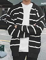 Men's Casual/Daily Regular Cardigan,Striped V Neck Long Sleeves Rayon Winter Thick Micro-elastic