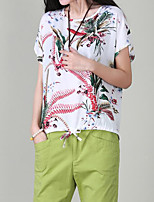 Women's Going out Simple T-shirt,Solid Print Round Neck Short Sleeves Polyester