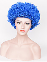 Women Synthetic Wig Capless Short Curly Afro Jheri Curl Blue Natural Hairline Party Wig Halloween Wig Carnival Wig Cosplay Wig Costume Wig