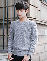 Men's Daily Casual Regular Pullover,Mixed Color V Neck Long Sleeve Cotton Fall Winter Medium Micro-elastic