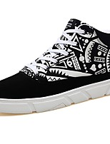 Men's Shoes Fabric Fall Comfort Sneakers Lace-up For Casual Black/Red Black/White