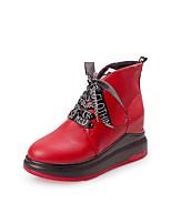 Feminino Sapatos Couro Ecológico Outono Inverno Botas da Moda Botas Anabela Ponta Redonda Cadarço Para Casual Social Preto Vermelho