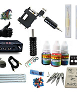 Starter Tattoo Kit 1 rotary machine liner & shader LCD power supply 1 × 5ml Tattoo Ink 1 x aluminum grip 2 x disposable grip Complete Kit
