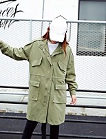 Women's Sports Going out Simple Spring Fall Trench Coat,Solid Stand Long Sleeve Regular Others