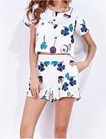 T-shirt Pantalone Completi abbigliamento Da donna Casual Romantico Estate,Con stampe Rotonda Manica corta