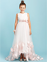 A-Line Princess V-neck Sweep / Brush Train Satin Tulle Junior Bridesmaid Dress with Bow(s) Sashes / Ribbons by LAN TING BRIDE®