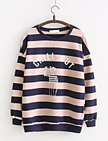 Women's Going out Casual/Daily Simple Cute Street chic Spring Fall T-shirt,Striped Print Color Block Round Neck Long Sleeves Cotton Others