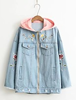 Women's Going out Casual/Daily Simple Spring Fall Denim Jacket,Solid Letter Hooded Long Sleeve Regular Others Embroidered