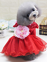 Dog Dress Dog Clothes Casual/Daily Princess Blushing Pink Green Red