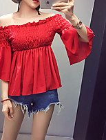 Women's Casual/Daily Sexy Cute Summer Shirt,Solid Boat Neck 3/4 Length Sleeves Rayon Thin