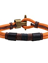 Men's Women's Leather Bracelet Handmade Vintage Leather Alloy Anchor Jewelry For Daily Going out