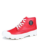 Men's Shoes Leather Summer Fall Comfort Sneakers Lace-up For Casual Outdoor Red Black White