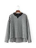 Women's Going out Casual/Daily Sexy Simple Street chic Spring Fall Shirt,Houndstooth Check Round Neck Long Sleeves Cotton Others Thin