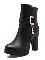 Femme Chaussures Similicuir Automne Hiver Confort Nouveauté Botillons Bottes Gros Talon Bout rond Bottine/Demi Botte Imitation Perle Pour