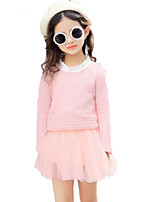 Girls' Solid Print Sets,Cotton Others Spring Fall Long Sleeve Clothing Set