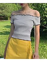 Women's Going out Casual/Daily Simple Summer T-shirt,Striped Boat Neck Short Sleeves Cotton Spandex Medium