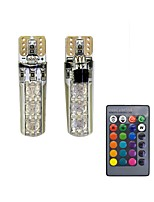 1Set 1.5W T10 6SMD5050 RGB LED Remote Control Car Lamp Diamond Type Decoration DC12V