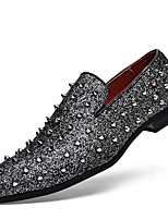 Men's Shoes Synthetic Microfiber PU Spring Fall Moccasin Driving Shoes Novelty Loafers & Slip-Ons Rivet For Casual Party & Evening Silver