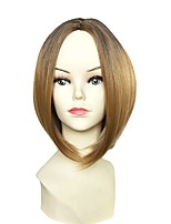 Women Synthetic Wig Capless Short Straight Medium Golden Brown Middle Part Bob Haircut Party Wig Celebrity Wig Halloween Wig Cosplay Wig