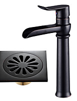 Centerset Waterfall with  Ceramic Valve Single Handle One Hole for  Black , Bathroom Sink Faucet