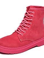 Femme Chaussures Daim Automne boîtes de Combat Bottes Talon Plat Bout rond Lacet Pour Décontracté Noir Rose